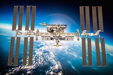 ISS international space station above Earth